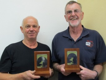 Darryl & John with the trophies made by Darryl's Glass - Studio & Gallery and Mens Shed